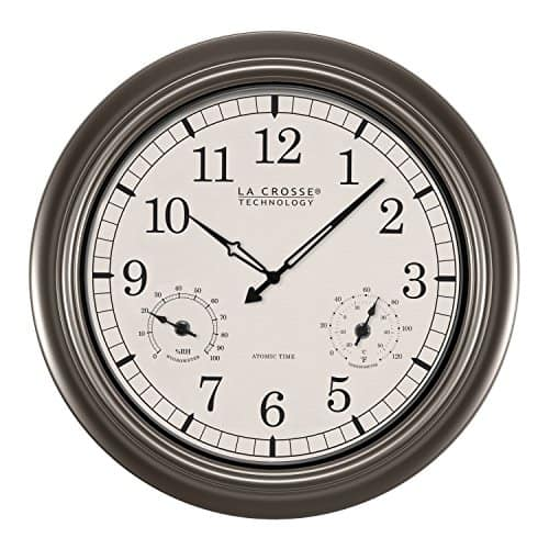 "La Crosse Technology 18"" Atomic Outdoor Clock Temperature Humidity"