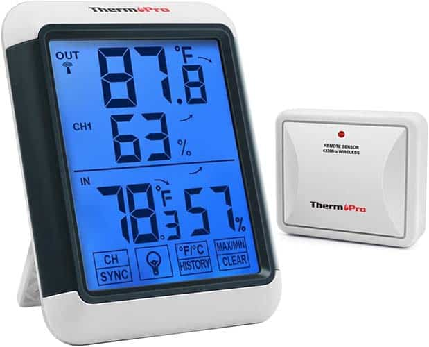 ThermoPro TP65A Indoor Outdoor Thermometer Digital Wireless Hygrometer Temperature with Jumbo Touchscreen