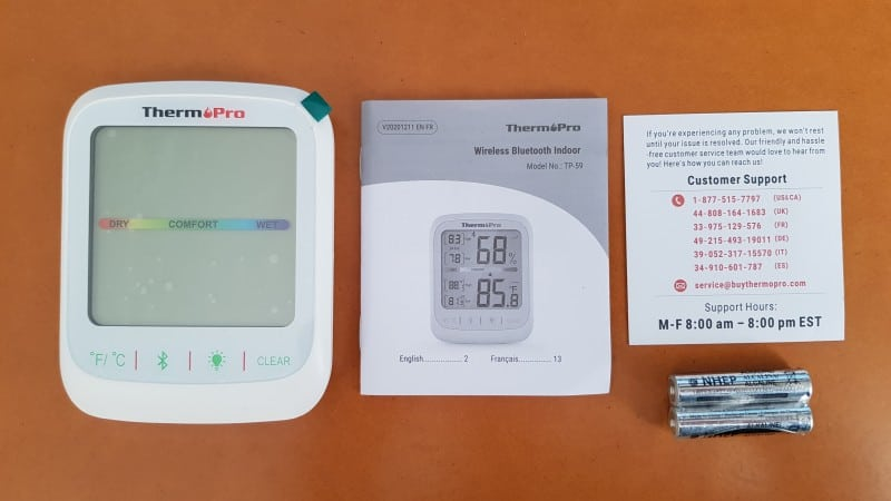 ThermoPro TP59 indoor temperature and humidity monitor box contents